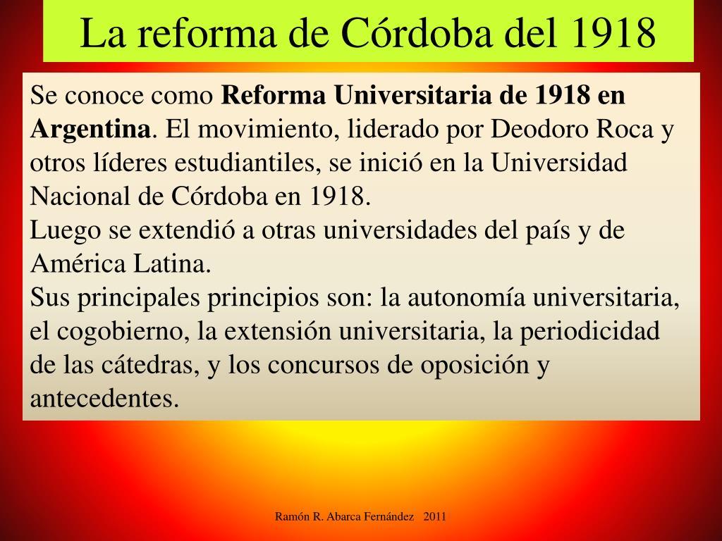 La reforma de Córdoba del 1918