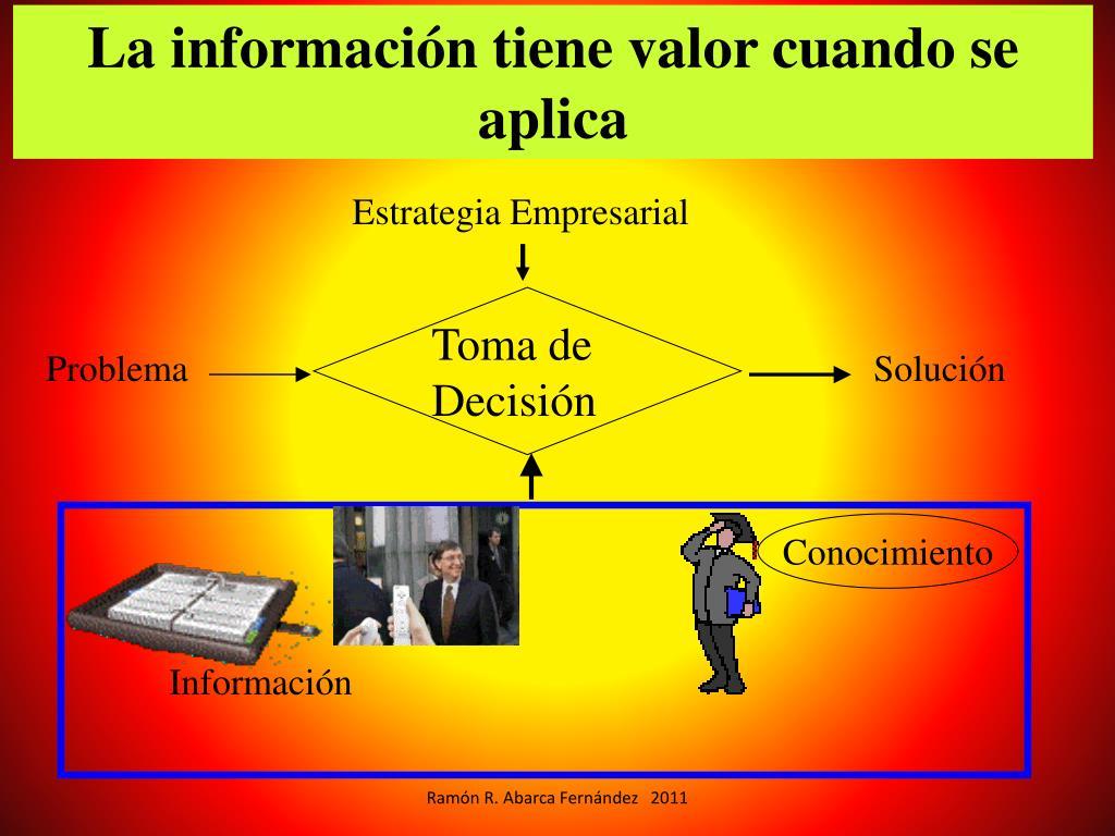 La información tiene valor cuando se aplica