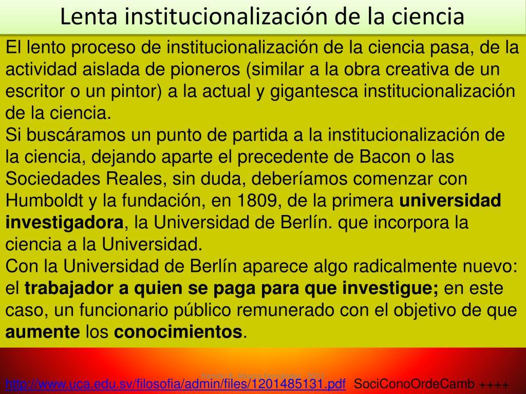 Lenta institucionalización de la ciencia