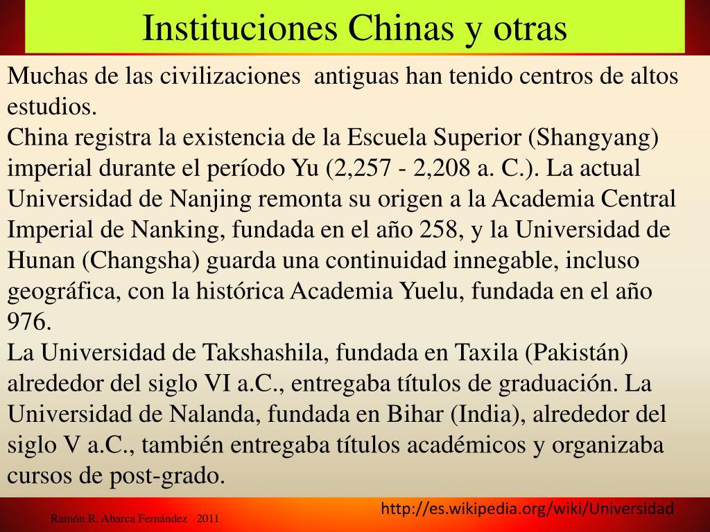 Instituciones Chinas y otras
