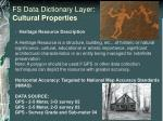 fs data dictionary layer cultural properties