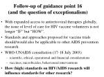 follow up of guidance point 16 and the question of exceptionalism
