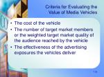 criteria for evaluating the value of media vehicles