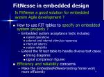 fitnesse in embedded design