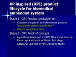 xp inspired xpi product lifecycle for biomedical embedded system
