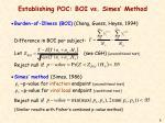establishing poc boi vs simes method