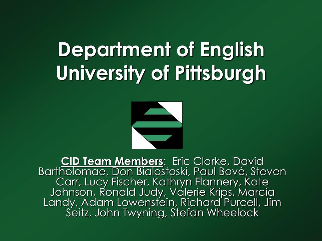 department of english university of pittsburgh l.