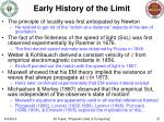early history of the limit