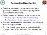 generalized mechanics