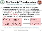 the lorentz transformation