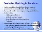 predictive modeling in databases