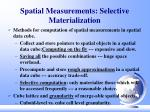 spatial measurements selective materialization