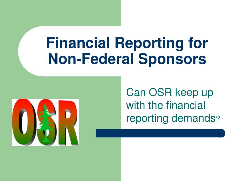 financial reporting for non federal sponsors l.