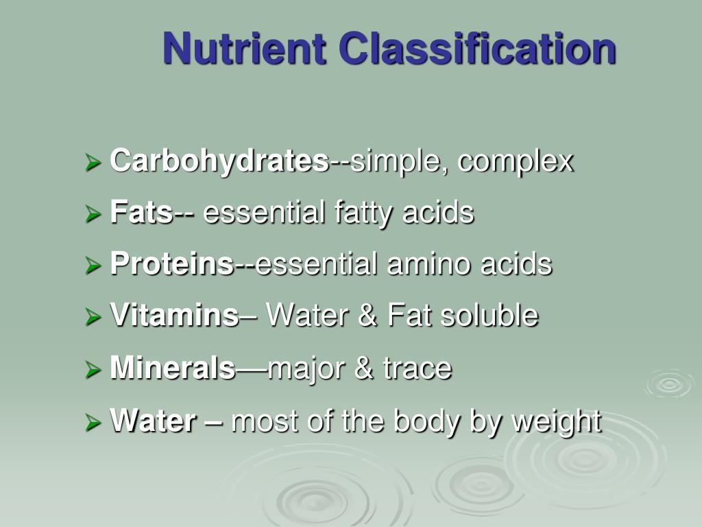 Nutrient Classification