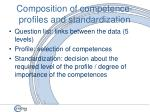 composition of competence profiles and standardization32
