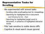 representative tasks for scrolling