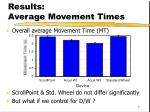 results average movement times