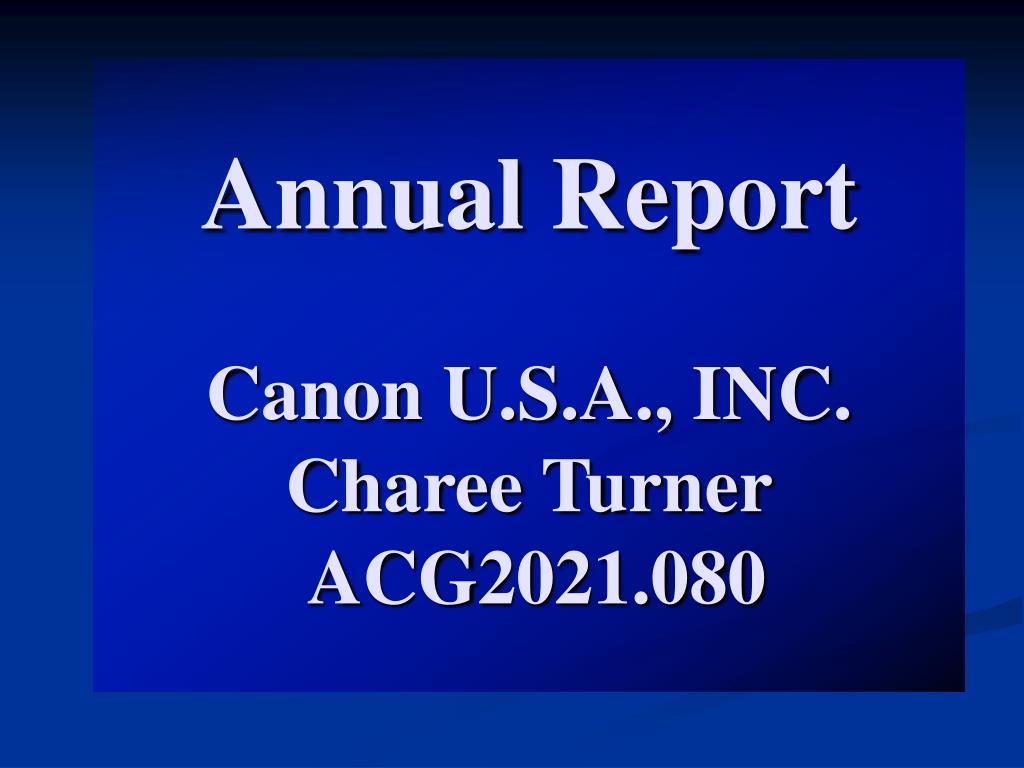 annual report canon u s a inc charee turner acg2021 080 l.