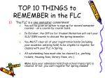 top 10 things to remember in the flc