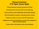 rising freshmen cte open house night