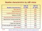 baseline characteristics by ad5 status