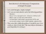 introduction to evolutionary computation a simple example
