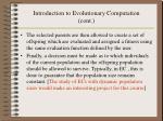 introduction to evolutionary computation cont6