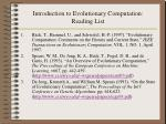introduction to evolutionary computation reading list