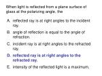 when light is reflected from a plane surface of glass at the polarizing angle the91