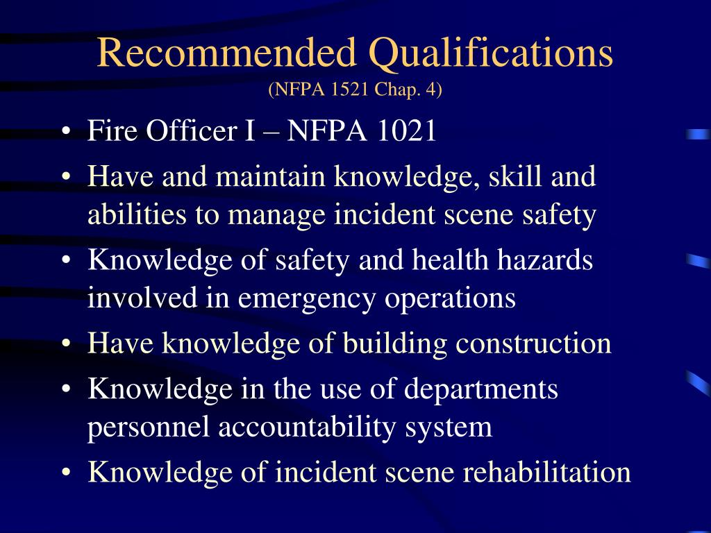 Recommended Qualifications