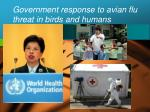 government response to avian flu threat in birds and humans