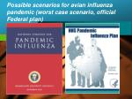 possible scenarios for avian influenza pandemic worst case scenario official federal plan