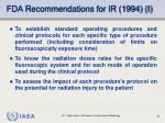 fda recommendations for ir 1994 i