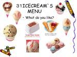 icecream s menu
