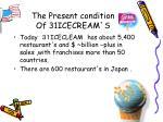 the present condition of 31icecream s
