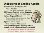 disposing of excess assets