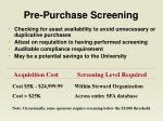 pre purchase screening