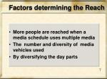 factors determining the reach