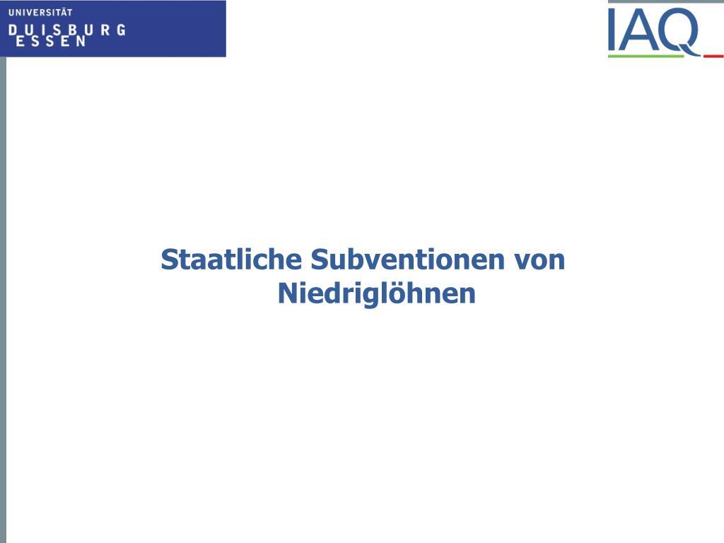 Staatliche Subventionen von Niedriglöhnen