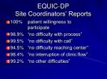 equic dp site coordinators reports