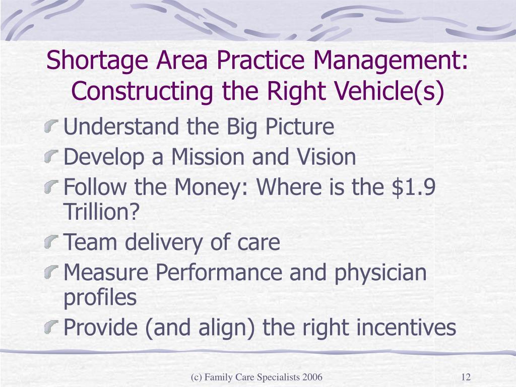 Shortage Area Practice Management: