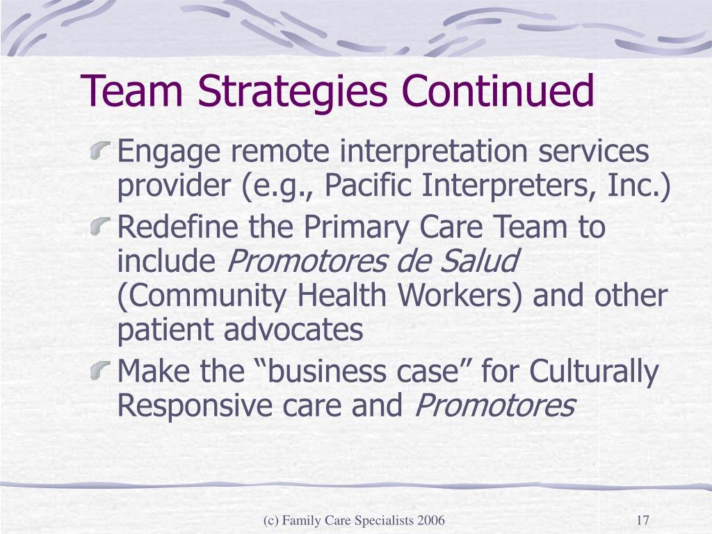 Team Strategies Continued