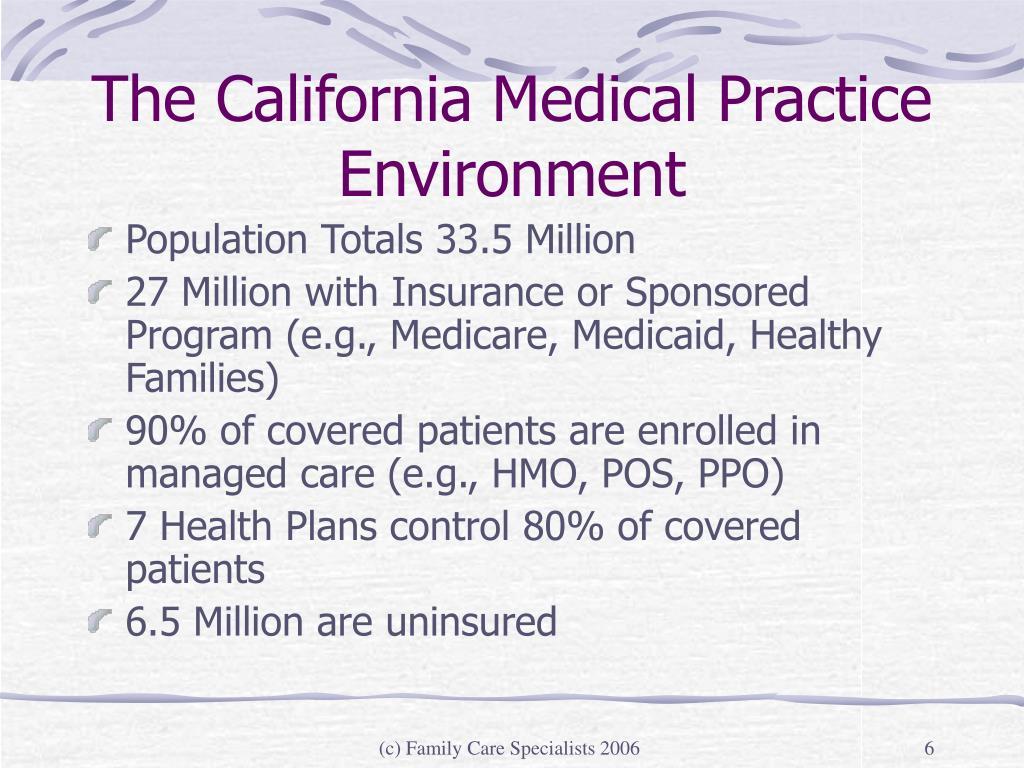 The California Medical Practice Environment