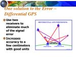 one solution to the error differential gps