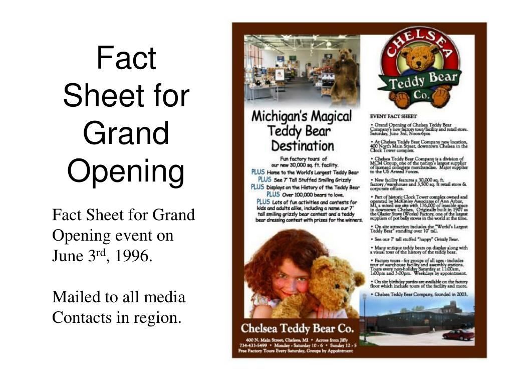 Fact Sheet for Grand Opening