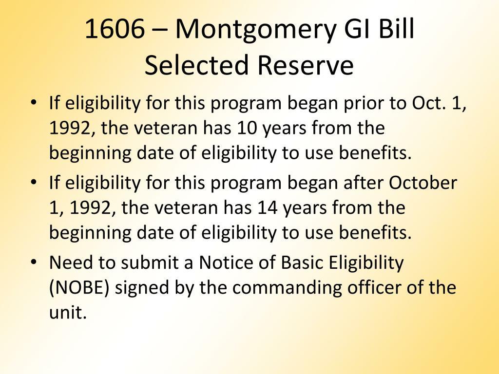 1606 – Montgomery GI Bill
