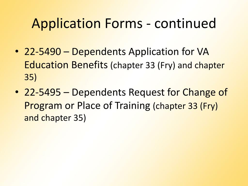 Application Forms - continued