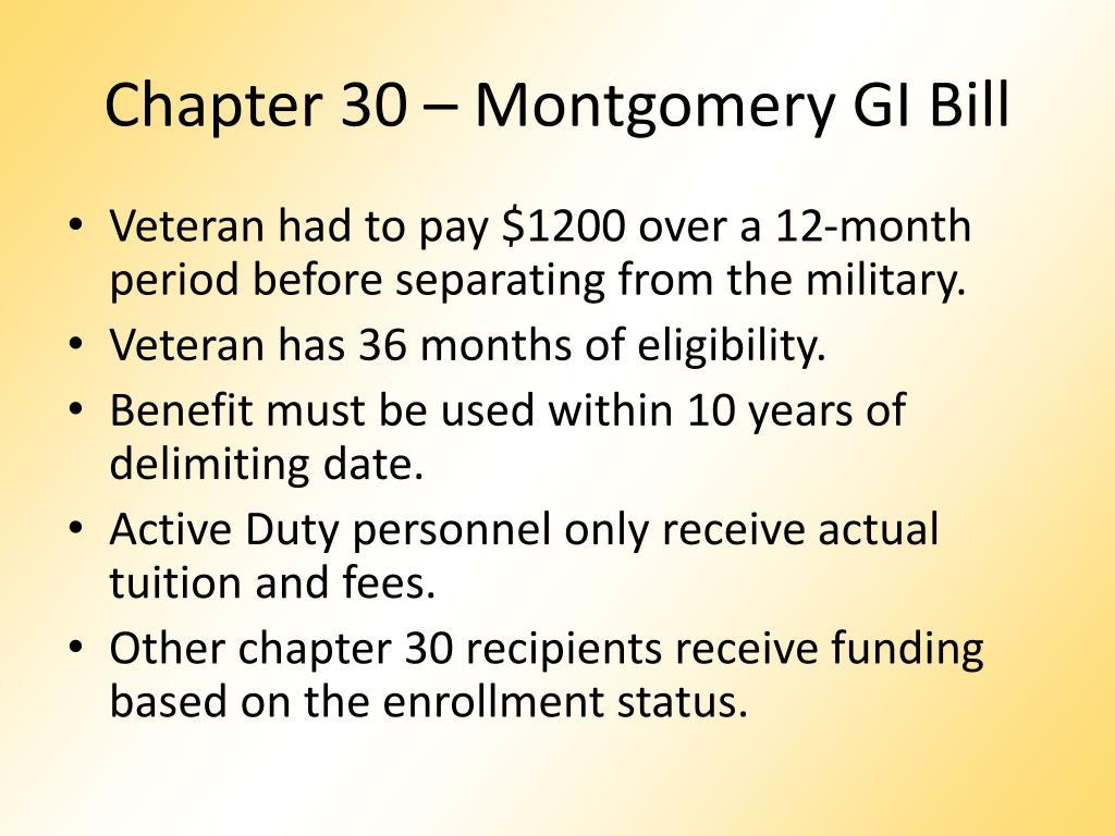 Chapter 30 – Montgomery GI Bill