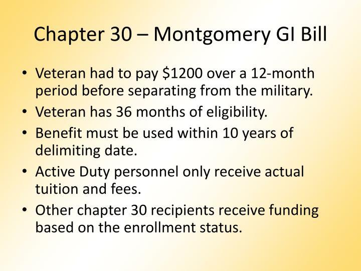 Chapter 30 montgomery gi bill