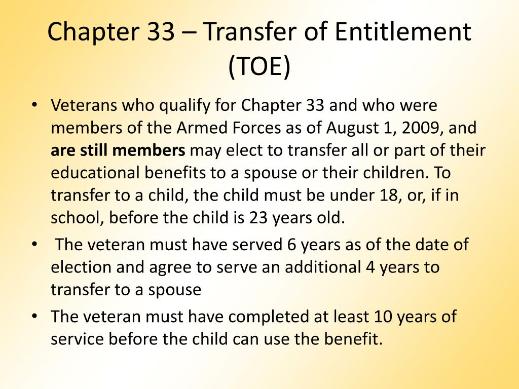 Chapter 33 – Transfer of Entitlement